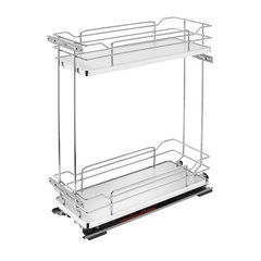 "Two Tier Base Organizer W/ Soft Close 8"" Chrome/Gray"