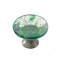 Classic Glass 1-3/16 Inch Diameter Chrome,Harlequin Green Cabinet Knob
