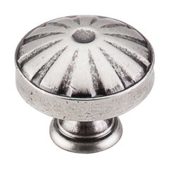 Dakota 1-1/4 Inch Diameter Pewter Antique Cabinet Knob <small>(#M1223)</small>