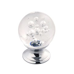 "Gemstone Knob 1-1/4"" Dia Clear Bubble Glass & Chrome"