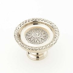 Sunflower 1-1/2 Inch Diameter White Brass Cabinet Knob