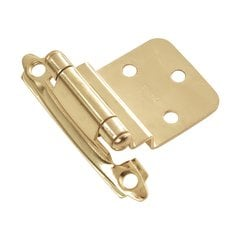 "3/8"" Inset Surface Mt. Hinge Pair Polished Brass Self Close"