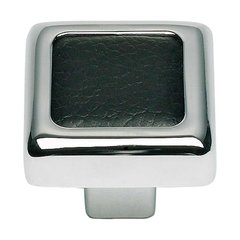 Paradigm 1-1/4 Inch Diameter Chrome/Black Leather Cabinet Knob