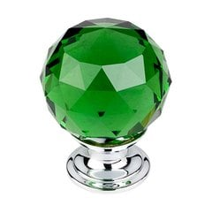 Crystal 1-3/8 Inch Diameter Green Crystal Cabinet Knob <small>(#TK120PC)</small>