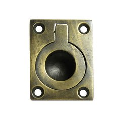 Bin Pulls 7/8 Inch Center to Center Unlacquered Antique Brass Recess Pull