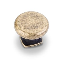 Belcastel 1 1-3/8 Inch Diameter Antique Brass Machined Dull Cabinet Knob