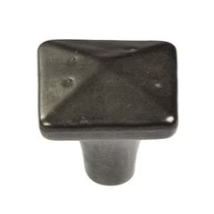 "Carbonite Square Knob 1-1/4"" Dia Black Iron"