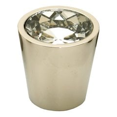 Fire 1-1/16 Inch Diameter Clear Crystal/Polished Nickel Cabinet Knob