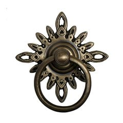 Ring Pulls 3 Inch Diameter Unlacquered Antique Brass Cabinet Ring Pull <small>(#HRP5012)</small>