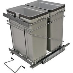 15 Inch Double Waste Bin Pullout 498mm x 381m x 495mm - Silver