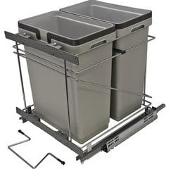 18 Inch Double Waste Bin Pullout 498X457X495mm - Silver