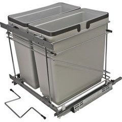 21 Inch Double Waste Bin Pullout 498X533X495mm - Silver