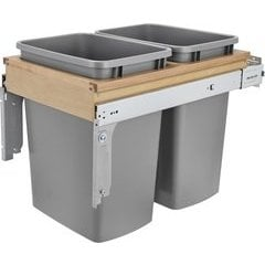 """33% OFF 35 Quart Wood Top Mount Double Trash Pull-Out Soft Close Waste Container, Min. Cabinet Opening: 15"""" Wide - Natural"""