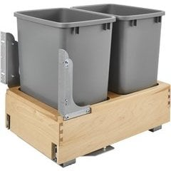 """35 Quart Wood Bottom Mount Double Trash Pull-Out Waste Containers with Rev-A-Motion Slides, Min. Cabinet Opening: 14-3/8"""" Wide - Natural"""