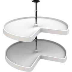 32% OFF 28 Inch Diameter Kidney Shape Value Line 2 Shelf Independently Rotating Polymer Lazy Susan Set, for 26 - 31 Inch Inner Cabinet Height - White