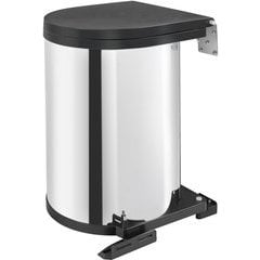 """32% OFF 15 Liter Single Round Pivot-Out Waste Container Bin, Min. Cabinet Opening: 13-7/16"""" Wide - Stainless"""