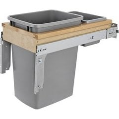 """22% OFF 35 Quart Wood Top Mount Single Trash Pull-Out Soft-Close Waste Container, Min. Cabinet Opening: 12"""" Wide - Natural"""