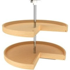 28 Inch Diameter Pie Cut Banded Wood Lazy Daisy 2 Shelf Corner Lazy Susan Set, for 26 - 31 Inch Inner Cabinet Height - Natural