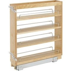 """32% OFF 5 Inch Width Wood Pull-Out Organizer with Adjustable Shelves for Kitchen Base Cabinet - Natural, Min. Cabinet Opening: 5-1/2"""" W x 22-1/2"""" D x 25-5/8"""" H"""