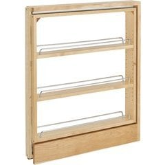 """24% OFF 3 Inch Width Wood Pull-Out Kitchen Base Cabinet Organizer with Top Slide - Natural, Min. Cabinet Opening: 3"""" W x 23"""" D x 26-3/8"""" H"""