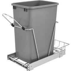 """31% OFF 35 Quart Bottom Mount Single Trash Pull-Out Waste Container, Min. Cabinet Opening: 10-3/4"""" Wide - Metallic Silver"""