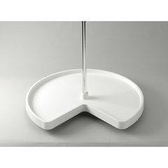 28 Inch Kidney Value Line Single Shelf Polymer Lazy Susan - White