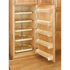20 Inch D-Shape Pantry Lazy Susan Set of 5 Shelves Only - Natural Wood