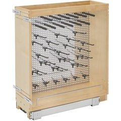 8 Inch Stainless Steel Base Cabinet Organizer Soft Close - Natural Wood