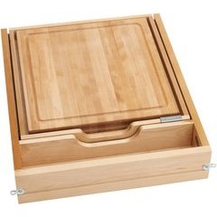 21 Inch Soft Close Knife and Cutting Board Drawer Kit - Natural Wood