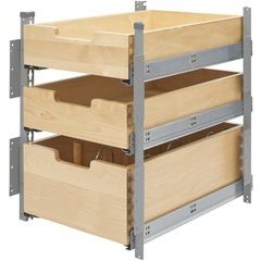 15 Inch Pilaster System 3 Drawer Kit - Natural Wood