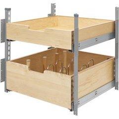 21 Inch Pilaster System 2 Drawer Kit - Natural Wood