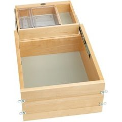 18 Inch Vanity Half-Tiered Drawer with Soft Close Slides - Natural Wood