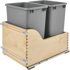 35 Quart Double Trash Pullout - Silver