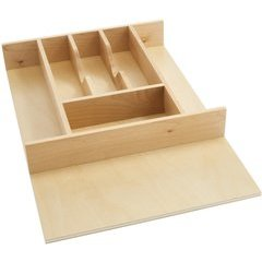 14.625 Inch Width Tall Cutlery Tray Insert - Natural Wood