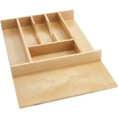 14.62 Inch Width Short Cutlery Tray Insert - Natural Wood