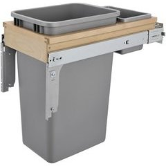 50 Quart Single Top Mount Waste Container for 1 - 1/2 Inch Face Frame - Silver