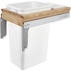 50 Quart Single Top Mount Waste Container for frameless Cabinet - White