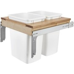 35 Quart Double Top Mount 21 Inch Width Waste Container for 1 - 5/8 Inch Face Frame - White