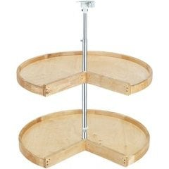 24 Inch Pie-Cut Two Shelf Lazy Susan - Natural Wood