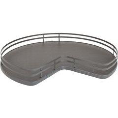 32 Inch Single Shelf Kidney Shape Solid Bottom Lazy Susan with Steel Bearing Corner - Orion Gray