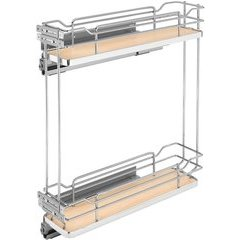 Two-Tier Wire Organizer with Blum Soft Close for 9 Inch Base Cabinet - Natural Wood