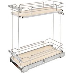 Two-Tier Wire Organizer with Blum Soft Close for 12 Inch Base Cabinet - Natural Wood