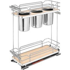 8.75 Inch Two-Tier Utility Organizer with Blum Soft Close - Maple