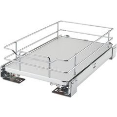 12 Inch Soft Close Solid Bottom Pullout Baskets - Gray
