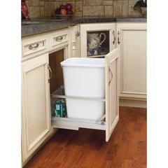 10.813 Inch Width x 19.313 Inch Height 35 QT Pullout Waste Container, 18 Inch D - White