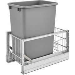 10.813 Inch Width x 19.313 Inch Height 35 QT Pullout Waste Container, 18 Inch D - Silver