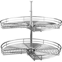 28 Inch Kidney Two Shelf Steel Lazy Susan - Chrome