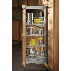 8 Inch Width x 74 Inch Height Soft Close Basket Pantry Pullout - Chrome