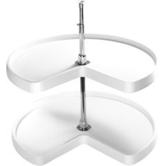 28 Inch Kidney Two Shelf Polymer Lazy Susan - White
