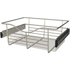 18 x 14 x 7 Inch Closet Pullout Basket - Satin Nickel